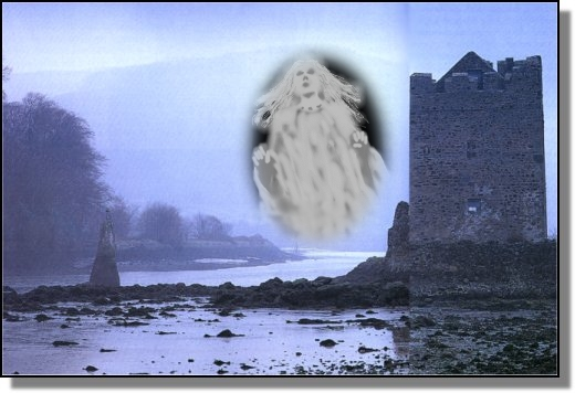 Narrow Water castle by twilight, with the ghost of Lassara Magennis